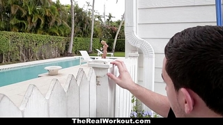 Therealworkout - slutty horny white wife copulates the poolboy!