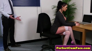 Busty office brit throating schlong until facial