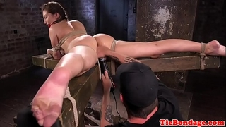 Busty s&m sub bound up and twat fingered