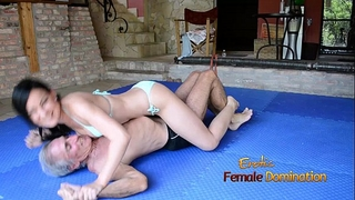 Turquoise bikini dirty slut wife wrestles old man