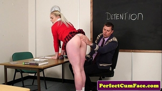 Blonde schoolgirl sucks