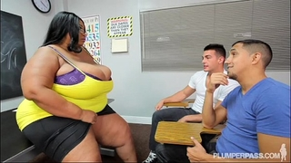 Busty dark bbw teacher copulates two hung dude students
