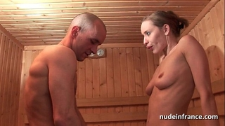 Horny blond hard anal screwed during the time that getting her snatch hairless in a sauna
