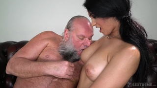Pretty brunette with big naturals fucks an old man