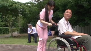 Subtitled extraordinary japanese half stripped caregiver outdoors