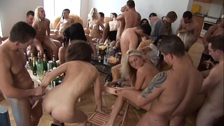 Beautiful czech gals giving a head at home party