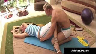 Julia ann bangs yoga instructor & receives a load on her bazookas!