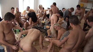 Party beauties engulfing and fucking their allies